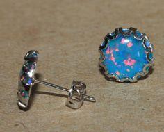 fire opal earrings gemstone silver jewelry elegant delicate design stud style S3 #Stud