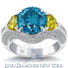 52f87cc48 5.82 Carat Fancy Yellow & Blue Diamond Engagement Ring 14k White Gold  Pave Halo lioridiamonds