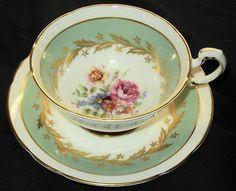 PARAGON ENGLAND PINK ROSE CACTUS GREEN BORDER TEA CUP AND SAUCER