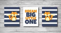 Baby Nursery Print - Fox Woodland Stripes Dream Big Little One Quote Blue and Orange Child Wall Art 8 x 10 on Etsy, $35.00