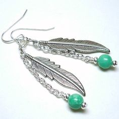 Nevada Green Turquoise Pewter Feather 925 Sterling Silver Earrings