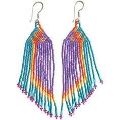 HUICHOL Ombre Fringe Earrings (96 CAD) ❤ liked on Polyvore featuring jewelry, earrings, accessories, purple, ombre jewelry, ombre earrings, fringe jewelry, braid jewelry and purple jewelry