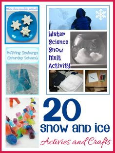 20 Snow crafts and activities for toddlers and preschoolers including some science investigations and gross motor skills.