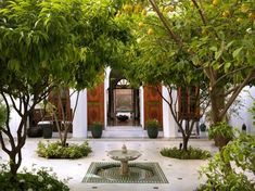 Moorish Architecture - Marrakech riad, palaces with interior courtyards, gardens, open skylights are essential to Islamic design which emphasizes privacy. The lack of street-level windows lends to the feeling of intimacy and grace. Landscape Design, Garden Design, Moroccan Garden, Persian Garden, Architecture Design, Islamic Architecture, Paradise Garden, Garden Fountains, Outdoor Gardens