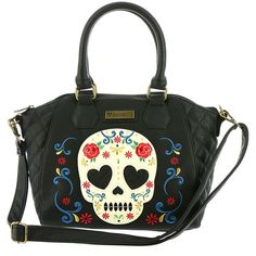 Loungefly Sugar Skull Rose Tote Bag Black Bags No Size (1,505 MXN) ❤ liked on Polyvore featuring bags, handbags, tote bags, black, embroidery tote bags, skull handbags, skull purse, tote purses and zipper tote
