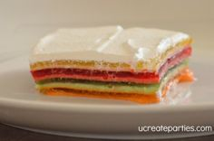Layered Jello - Not only does this present beautifully, but it is delicious.  Had it a a bridal shower once - can't believe we found the recipe!!!