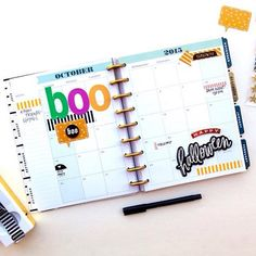 We're loving the look of the large mambiSTICKS alphabet stickers on #HappyPlanner layouts! Yesterday we saw them used on a weekly spread and today mambi Design Team member @ajmcgarvey made her #October monthly spread #Halloween ready spelling the word #BOO with some of our big bright alphas! @the_happy_planner by meandmybigideas