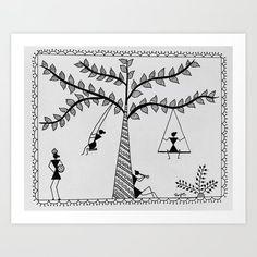 Warli Art Serving Tray by ranjani art - x x 1 Madhubani Art, Madhubani Painting, Worli Painting, Fence Painting, Tribal Art, Tribal Drawings, Art Drawings, Mandala Art Lesson, Indian Folk Art