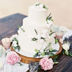 The perfect whimsical woodland setting for their organic wedding - A traditional three tiered white cake with buttercream frosting, decorated with little mushrooms, greenery, and a mix of blooms. White Wedding Cakes, Beautiful Wedding Cakes, Elegant Wedding, Deer Wedding, Woodland Wedding, Wedding Ideas, Martha Stewart Weddings, Handfasting, Cake Toppings