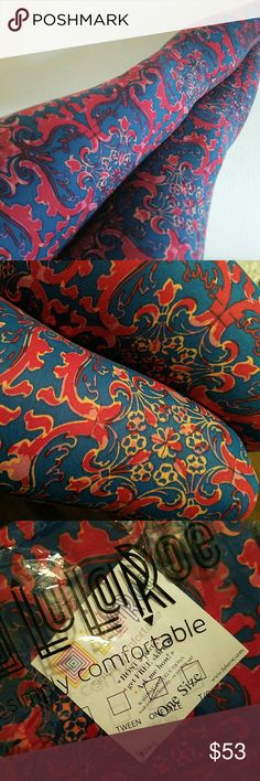 BNWT Scroll OS LuLaRoe Leggings BNWT Lularoe OS leggings with scroll and flower detail. Deep blue (better in 2nd picture), scrolls are red and pink.   Smoke free, pet friendly home. Can typically ship 1-2days. Price firm unless bundled. LuLaRoe Other