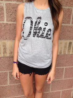 Okie aztec muscle tank top #lushfashionlounge #okie #oklahoma