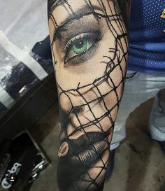 Green Eyed Girl Portrait-Tattoo