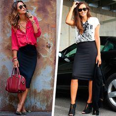 Camisa e T-shirt com saia lápis, qual a melhor opção de look?