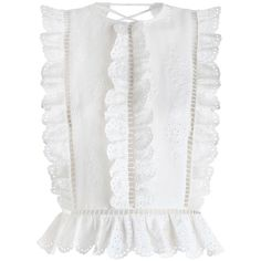 ZIMMERMANN Valour Frill Top ($390) ❤ liked on Polyvore featuring tops, shirts, zimmermann, blouses, ruffle swim top, white linen shirt, embroidered shirts, linen tops and white linen top