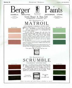 Berger Paints, Homerton, London - Matroil and Scrumble paint advert, c1927