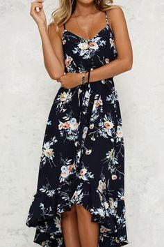 c5b3a9d35 Spaghetti Strap Asymmetric Hem Cascading Ruffles Floral Printed Sleeve  modest maxi dress Enjoy Free Shipping  59