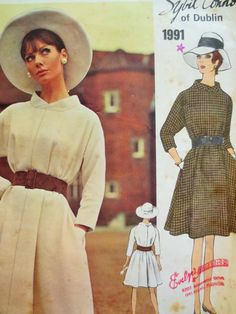 Vintage Vogue 1991, 1960s Dress Pattern, Sybil Connolly Design, Bust 36, Mod Dress Pattern, Tent Dress, Swing Dress, 1960s Sewing Pattern