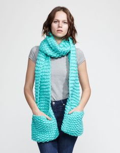 JOLLY POCKET SCARF   Knitted for you for $149 or DIY kit for $79 at Wool and the Gang. Gonna figure out how to crochet it.