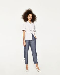 ZARA WOMAN 9878/021 $49.90 CHAMBRAY TROUSERS WITH CONTRASTING EMBROIDERY