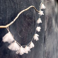 tulle garland on a branch