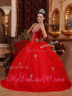 red orange gold quinceanera dresses   Red Ball Gown Sweetheart Organza Appliques Dress for Sweet 16