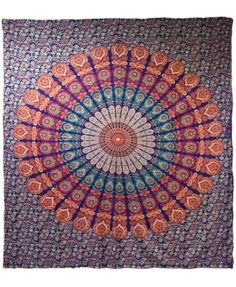The intricate mandala design on the WallPops Raghav Wall Tapestry features a rich combination of colors. Drape or hang this large cotton wall tapestry. Bohemian Wall Tapestry, Tapestry Wall Hanging, Tapestry Bedroom, Mandala Tapestry, Wall Tapestries, Blue Home Decor, Home Wall Decor, Tapestry Online, Woven Wall Hanging
