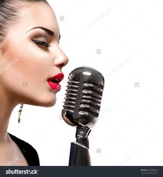 Singing Woman With Retro Microphone. Beauty Glamour Singer Girl ...