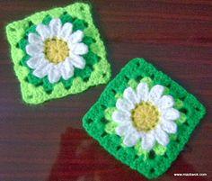 Wild daisy flower granny square - free crochet pattern