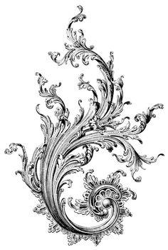 Home Decor - tattoos,tattoo-Acatnthus leaf filigree - or a dragon. Filigree Tattoo, Swirl Tattoo, Molduras Vintage, Ornament Drawing, Filigree Design, Arte Floral, Arabesque, Vintage Images, Design Elements