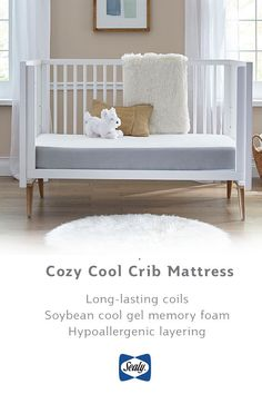 The most important part of your nursery is your crib mattress: so purchase from the crib mattress brand in the U. Sealy Baby provides your little one with a safe, secure, and cozy night's sleep with innovative technology like hypoallergenic layeri Best Crib Mattress, Preparing The Nursery, Mattress Brands, Nursery Neutral, Memory Foam, Cribs, Sleep, Cozy, Parenting Ideas