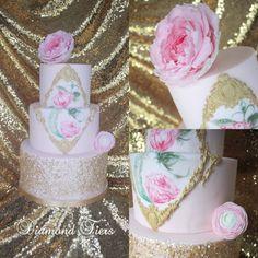 Baroque cake with Jumbo Peony, by Diamond Tiers