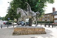 Ride a cock horse to Banbury Cross to see a fine lady upon a white horse.  I lived in Banbury England for 3 years and I saw this statue numerous times. My dad was stationed at Craughton AFB, England.