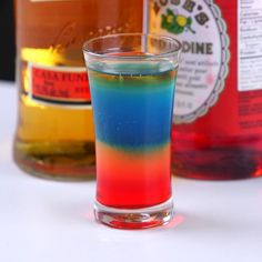 If you like living life on the wild side, you'll love this shot! The Flaming Rainbow Shot is beautifully made with cool differently colored layers, and finally a flame tops it all off!It's really rather easy to make this shot at home with just a few
