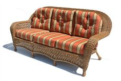 Our new wicker sofa for the pavilion, except our sofa will be in a blue denim type fabric.