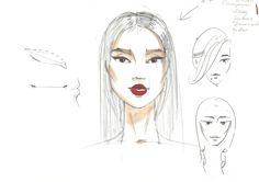 Fashion sketch by Olga Sorokina Drawing Fashion Illustration Illustrator Vogue Sketch Face Eyes Lips