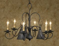 Petticoat 6 Arm Wrought Iron Chandelier Primitive Country Colonial Lighting