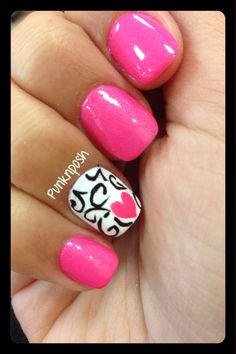 Black and white damask swirls with pink heart finger (and matching toe nail design in previous pin).