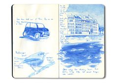 Moleskine travel sketch of the Seine in Paris, France in blue Winsor-Newton ink.  And a small French car.