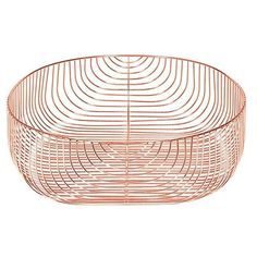 Bend Goods Bend Basket - 22 In. ($275) ❤ liked on Polyvore featuring home, home decor, small item storage, metallics, fruit basket, woven baskets, fruit centerpieces, geometric home decor and weave basket