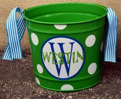 ELECTRIC GREEN 10 Quart Bucket - Easter Basket Pail - Halloween Candy Bucket