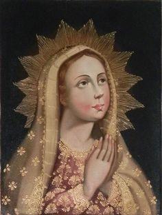 "12"" X 16"" Oil Painting Madonna Virgin Mary Peru Cuzco School Religious Colonial #CuzcoSchool"