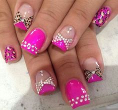 Pink And Leopard Nails With Rhinestones