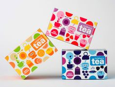 Colorful tea packages for children.