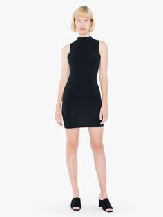 Sleeveless form-fitting dress with back cutout, above-the-knee length and mock neck.