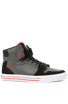 new concept 74059 36383 The Vaider Sneaker in Grey Nubuck, Black Leather, and Red