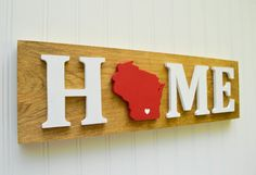 Wisconsin Badgers State Heart Home Sign by StateYourTeam on Etsy