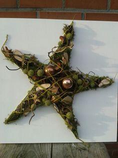 Kerstster, met deze stervorm wil ik een grote kerstster maken met mos.