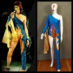 Your place to buy and sell all things handmade Bowie Ziggy Stardust, David Bowie Ziggy, David Bowie Costume, David Bowie Fashion, Mario E Luigi, Bodysuit Costume, Long Torso, Glam Rock, How To Wear