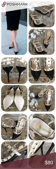 "Chase & Chloe Studded T-Strap Slingback Pumps NWOT Complete your favorite outfit w/ these stylish Chase & Chloe Plaza-2 studded t-strap slingback pumps. Made of faux leather in nude & black, high 5"" heels, 0.25"" platform height, pointed toe, manmade sole, padded footbed. Get your Valentino Rockstud look at a fraction with these similar stylish rocking heels! NWOT. One light marker spot on interior sole & one of the heel tips looks a bit separated but it's not loose, just the way it is, still…"