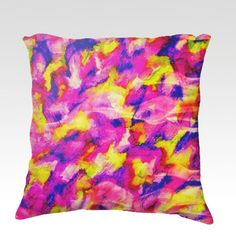 THE FLOCK 3 Fine Art Velveteen Throw Pillow Cover Decorative Home Decor Colorful Fine Art Toss Cushion, Modern Bedroom Bedding Dorm Room Living Room Style Accessories by EbiEmporium, $75.00